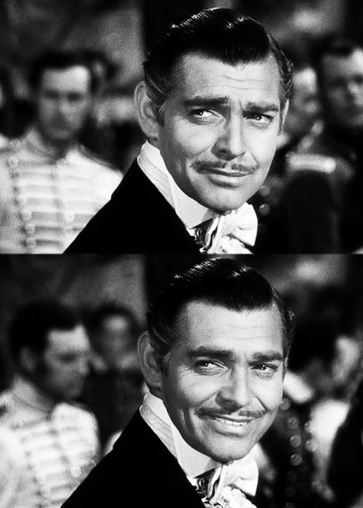Clark Gable, Mr Rhett Buttler, au sourire ultra white.
