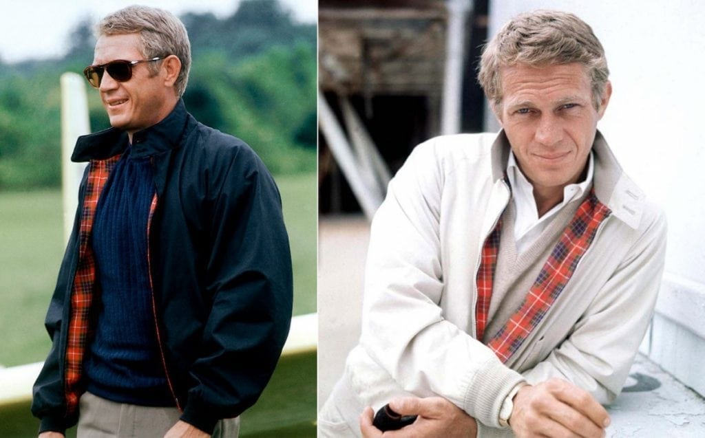Steve McQueen en blouson Harrington Baracuta.