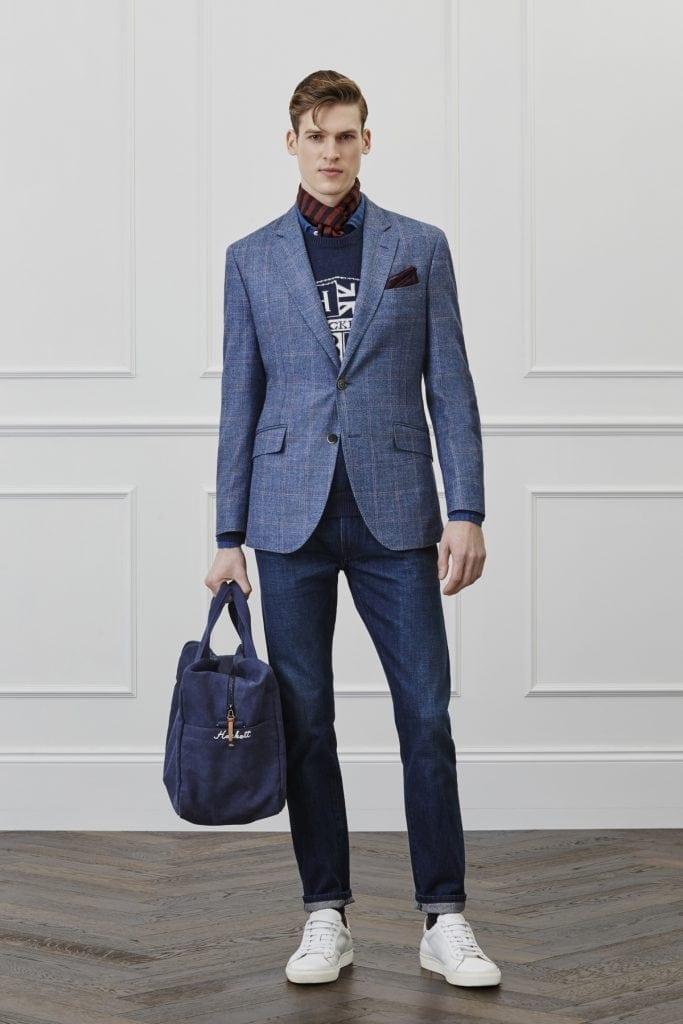 Blazer en coton, pull en laine, jean selvedge, pochette en coton, écharpe  en laine, Hackett 52b89072853
