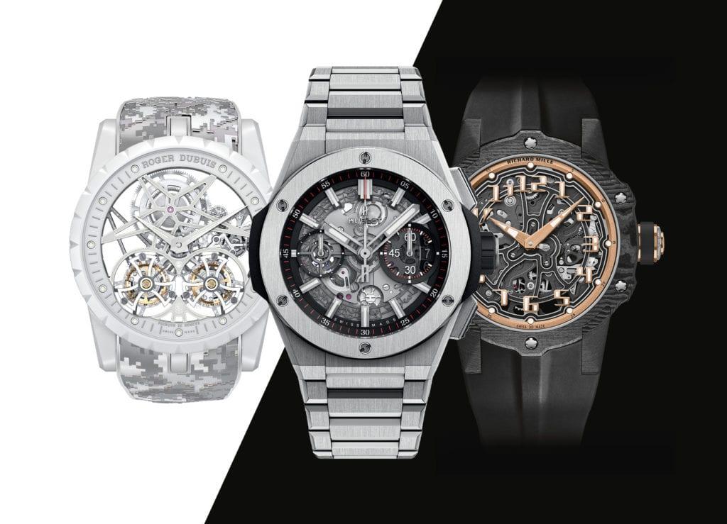 De gauche à droite : Roger Dubuis Excalibur Double Flying Tourbillon, Hublot Big Bang Integral et Richard Mille RM 33-02