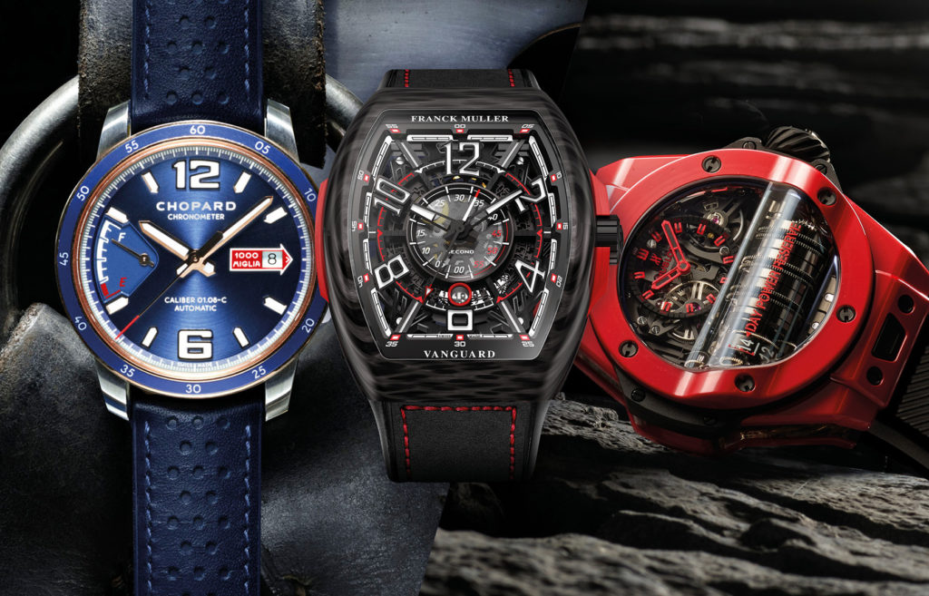 De gauche à droite : Chopard Mille Miglia GTS Azzurro Power Control / Franck Muller Vanguard™ Racing Skeleton / Hublot Big Bang MP-11 Red Magic.