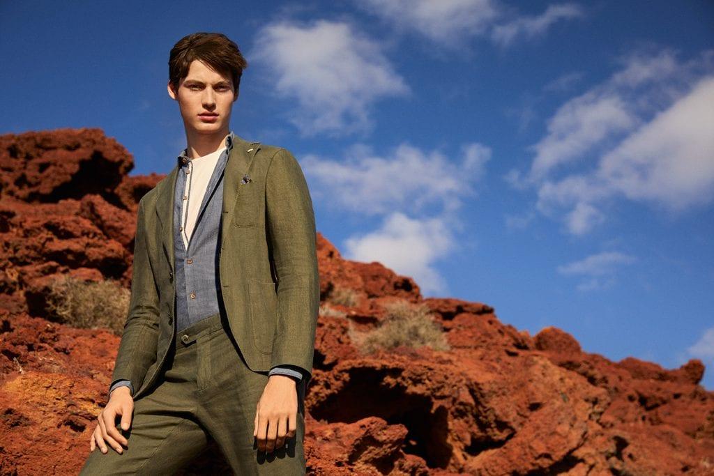 Costume Nuvola, veste 3 boutons non doublée en coton et lin stretch, Manuel Ritz.