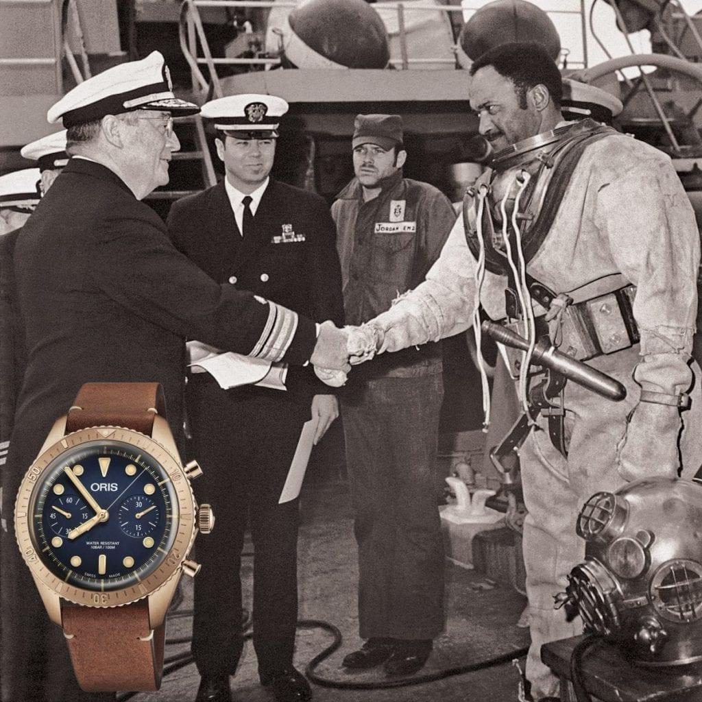 En 1954, Carl Brashear est diplômé de l'U.S. Navy Diving & Salvage School. À cette époque, les scaphandres sont en bronze. Oris lui a rendu hommage en 2016 avec la montre automatique Carl Brashear Limited Edition Original, puis en 2018 avec la version chronographe.