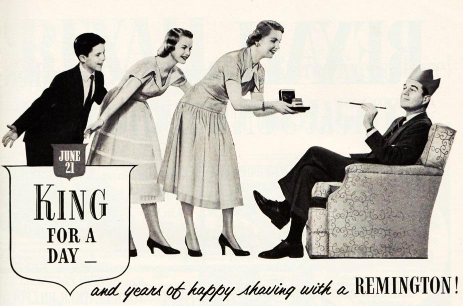 Publicité vintage de 1953 pour les rasoirs électrique Remington.