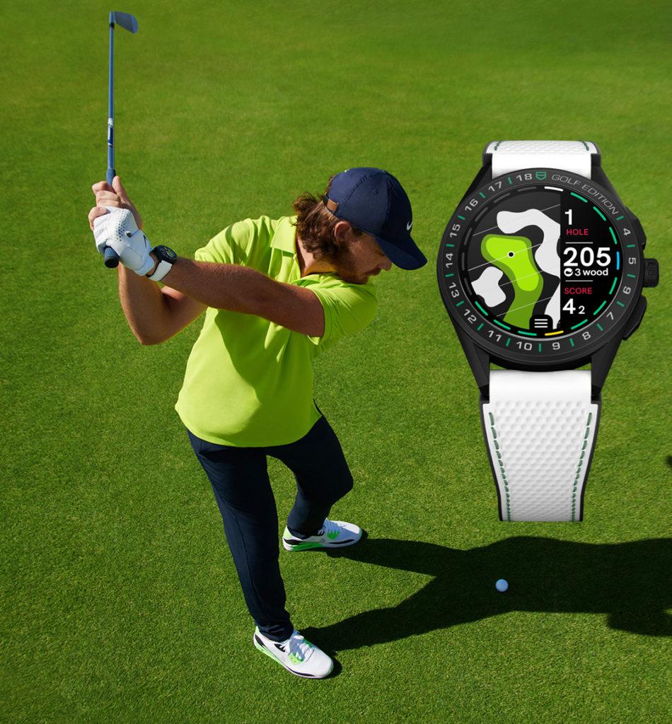 Le golfeur Tommy Fleetwood porte la TAG Heuer Connected Golf Edition aussi bien à la ville que sur le green.
