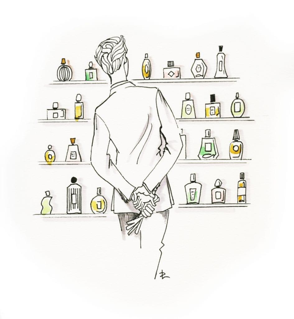 Entre flacon et fragrance, trouver son eau de toilette n'est pas facile. Illustration Dominique Lelys.