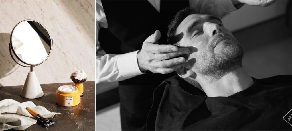 La nouvelle ligne Barbière d'Acqua di Parma comprend des produits de soins pour la barbe. Bientôt dans sa boutique des Francs-Bourgeois, un service de barber shop.