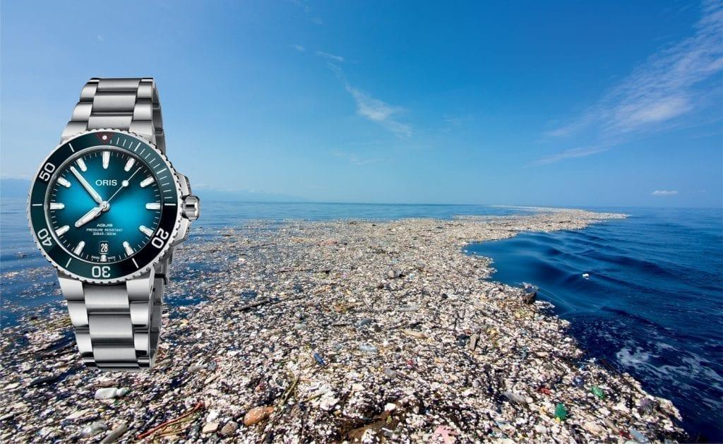 En 2019, Oris regroupe ses engagements pour les océans et agit pour la dépollution des mers souillées par le plastique. Une part du prix de vente d'un grand nombre de modèles Oris, notamment dans la gamme Aquis (ci-dessus), est directement versée en faveur de ces actions.